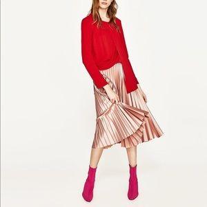 Brand New Zara Pleated Midi Skirt